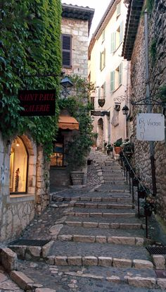 A street in Saint-Paul-de-Vence. One of the oldest and most beautiful medieval towns on the French Riviera in France.