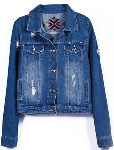 Dark Blue Embroidery Back Ripped Bleached Denim Jacket US$31.97