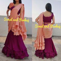 Ready To Wear Peach & Wine Ruffle Saree - Lehenga Saree Design, Half Saree Lehenga, Saree Look, Half Saree Designs, Silk Saree Blouse Designs, Fancy Blouse Designs, Indian Gowns Dresses, Indian Fashion Dresses, Dress Indian Style