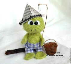 How to Make a Knitting Frog 6 Crochet Frog, Cute Crochet, Beautiful Crochet, Crochet Hats, Knit Crochet, Frog Crafts, Cute Frogs, How To Start Knitting, Amigurumi Toys