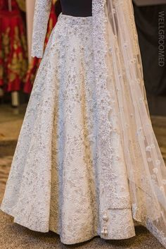 White Baroque Lengha - WellGroomed Designs Inc Indian Prom Dresses, Indian Wedding Gowns, Indian Bridal Lehenga, Dress Indian Style, Sexy Wedding Dresses, Bridal Dresses, Indian Wear, Indian Gowns, Wedding Attire