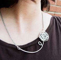 Rose necklace, Silver Aluminum, Wire jewelry. $24.00, via Etsy.