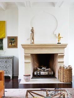 Eclectic L.A. Living Room | Designer: Jackie Terrell & Harrison Design | Photographer: Stacey Brandford | #fireplace #livingroom #basket #moorish #architecture #interiordesign