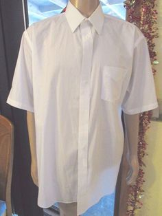 Stafford Short Sleeve Wrinkle Free Dress Shirt White Size 18  #Stafford