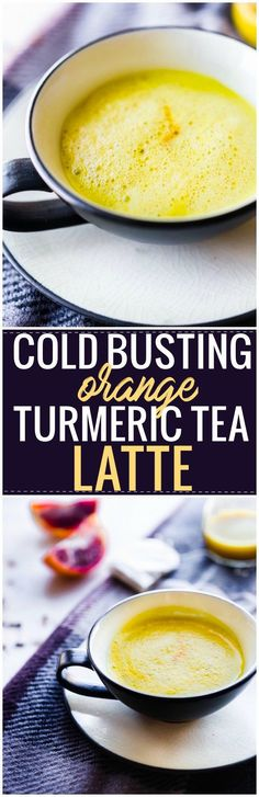 """Boost your health with a cold busting blood orange turmeric tea latte! This Vegan """"Golden Milk"""" latte is loaded with extra Vitamin C, rich in minerals, and anti-inflammatory properties. A fruit sweetened spiced latte that's warming and nourishing! Paleo friendly. www.cottercrunch.com"""