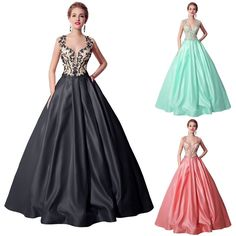 Long Cap Sleeves Beads Satin Wedding Bridal Ballgown Formal Dresses Coral Black