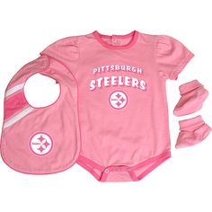 Infant Pittsburgh Steelers Pink/White 2-Pack Baby Bibs