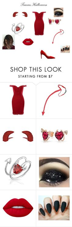 """Taurus Halloween"" by fangirl-24 on Polyvore featuring Miss Selfridge, Bling Jewelry, Lime Crime, Prada, Halloween, Taurus, STARSIGNS and devil"