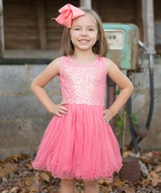 Another great find on #zulily! Coral Sequin Tutu Dress - Toddler & Girls by Just Couture #zulilyfinds