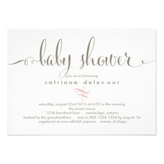 Whimsical Calligraphy Baby Shower Invitation