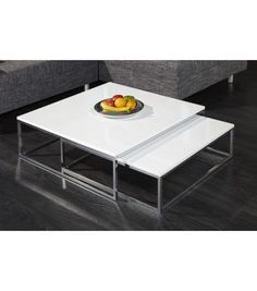 FUSION - nest of two tables white high gloss coffee tables - www.neofurn.co.uk