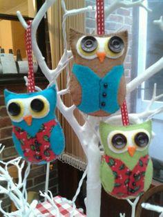 Felt Christmas Tree Owls