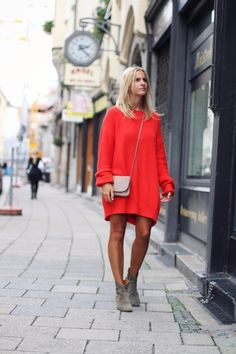 slouchy red sweater dress with ankle boots