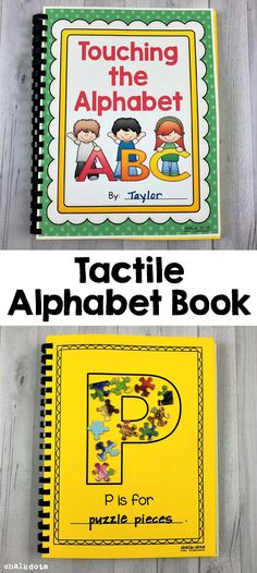 This tactile alphabet book can help students who are kinesthetic learners or visually impaired learn the alphabet. It can also teach words that start with each letter of the alphabet. Preschool Letters, Preschool Curriculum, Preschool Learning, Kindergarten Classroom, Preschool Activities, Homeschool, Classroom Ideas, Alphabet Activities, Alphabet Books