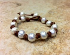 Items similar to Freshwater Pearl and Leather Bracelet - Orrawee C on Etsy