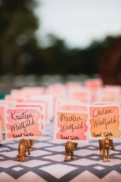 gold animals holding watercolor seating cards Photography: Lauren Kinsey Fine Art Wedding Photography - laurenkinsey.com #SMP  Read More: http://www.stylemepretty.com/2014/03/28/destination-wedding-at-watercolor-inn-resort/