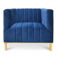 Taylor Arm Chair in Blue Velvet - Interior Secrets