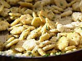 Look at this recipe - Parmesan oyster crackers - from Tyler Florence and other tasty dishes on Food Network. Oyster Cracker Snack, Seasoned Oyster Crackers, Appetizer Recipes, Snack Recipes, Cooking Recipes, Healthy Recipes, Healthy Lunches, Yummy Appetizers, Yummy Recipes