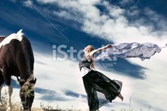 Woman Dancing and Horse Royalty Free Stock Photo