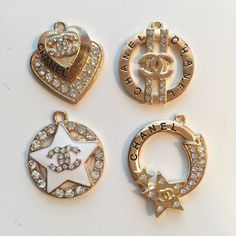 4pc CC Charms $3.50 (1 set available). www.TheDecoKraft.com  #charm #weddings #pearls #wedding #bracelet #charms #bling #blingers #blingblingbling #diyglam #craftsupplies #customcases #casemaker #crafters #customdesigns #cellphonebling #diy  #charmbracelet #handmade #kawaii #customjewelry #cabochons #rhinestones #flatbackpearls #flatbackrhinestones #jewelry #supplier #designerglam