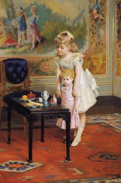 """Dolly's Teatime"" by Gustave Leonhard de Jonghe (1829 – 1893, Belgian) via: http://iamachild.wordpress.com/2009/10/29/gustave-leonhard-de-jonghe-1829-1893-belgian/"