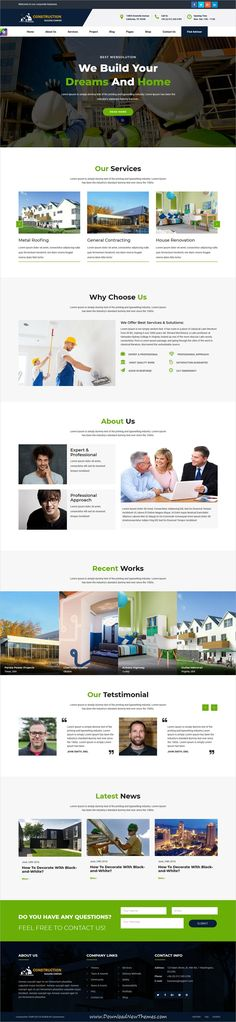 Professional clean and modern design 2in1 responsive bootstrap #HTML template for #construction and building company #website to live preview & download click on Visit
