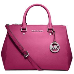 Pre-owned Michael Kors Michael Sutton Medium Pink Saffiano Leather... ($286) ❤ liked on Polyvore