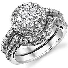 Halo wedding ring set ~ http://www.moissaniteco.com/images/wed423.jpg