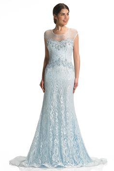 9806faef03b Pale Blue Lace Fitted Evening Dress with Illusion Back - Style Hallie