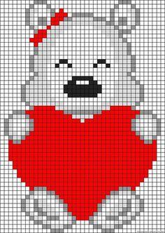 Valentine teddy perler bead pattern by clara Crochet Pixel, Graph Crochet, C2c Crochet, Tapestry Crochet, Perler Patterns, Loom Patterns, Beading Patterns, Knitting Patterns, Crochet Patterns