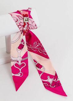 Hermès Hot Pink Flower Twilly Bracelet Scarf at 1stdibs