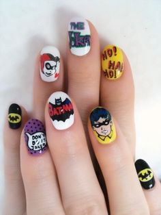 I am unfolding 30 easy & simple Batman nail art designs, ideas, trends & stickers of Try these patterns on your nails using blacks, whites, yellows and glittery pens. Batman Nail Art, Comic Nail Art, Superhero Nails, Comic Art, Fancy Nail Art, Fancy Nails, Pretty Nails, Get Nails, Hair And Nails