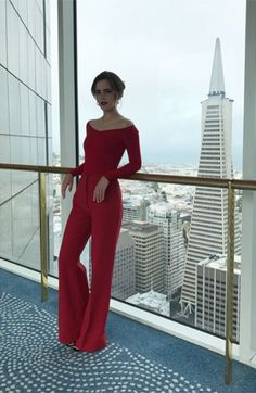 Emma Watson worked this red two piece set during a live Q&A for The Circle in San Francisco.