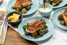 Seared Chicken & Spring Vegetable Hash  with Red Potatoes, Asparagus & Lemon Aioli