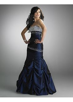 Elegant Taffeta Strapless Long Prom Dress