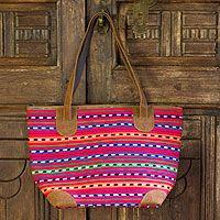 Leather accent cotton shoulder bag, 'Scarlet Maya'