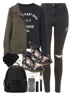 """""""Outfit for school in winter"""" by ferned on Polyvore featuring Michael Kors, Topshop, Dr. Martens, Leith, Daniel Wellington, Casetify, Bobbi Brown Cosmetics, women's clothing, women's fashion and women"""