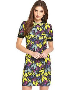 Definitions Butterfly Embellished Collar Shift Dress in Print Size 14