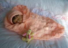 Baby Girl Cocoon Knitting Patterns | Sale Knitted Lace Pattern Papoose Cocoon Hat Set for 0 3M Baby 17 23 ...