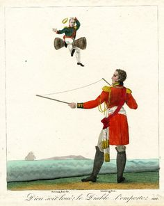 """""""God be praised! The devil takes him!"""" The Duke of Wellington, playing with a pair of diavolo sticks, tosses Napoleon into the air, 1815. © The Trustees of the British Museum."""