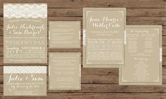 Burlap and Lace Wedding Invitation Suite by OliveJuiceStationery, $85.00