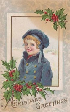 Antique-CHRISTMAS-POSTCARD-c1907-20-Little-Boy-Blue-Coat-Holly-Embossed-13926