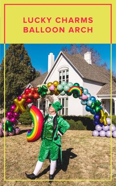 You don't need the luck of the Irish to make this Lucky Charms inspired arch! It's perfect for St Patricks Day, but also a wonderful decoration for any party in need of a little color.  balloon arch, foil balloons, st Patricks day, rainbow, lucky charms, st Patricks day decor, rainbow decor, diy party decor, event decor, balloon decor Balloon Arch Frame, Rainbow Balloon Arch, The Balloon, Rainbow Decorations, Diy Party Decorations, Balloon Decorations, Big Balloons, Sweet 16 Parties, Luck Of The Irish