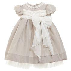1695f951aacdcd Beige Silk Taffeta Dress with Organza Belt