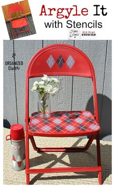Vintage Child's Folding Chair Stenciled with an Argyle Pattern