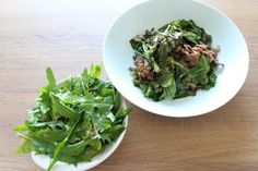 Raw Greens with Garlic Paprika Dressing and Quick-Cooked Greens with Bacon Vinaigrette