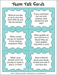 Students can use talk cards to help facilitate conversations.