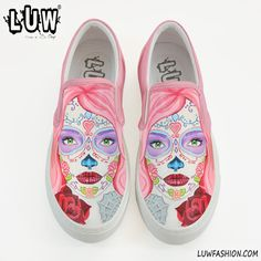 CALAVERA SLIP-ON - sugar skull design shoes, day of the dead, mexican slip-on, custom sugar skull, sugar skull make up, handpainted slipon sold by LUW® by Serap ONEY. Shop more products from LUW® by Serap ONEY on Storenvy, the home of independent small businesses all over the world.