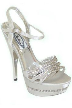 open toe metallic silver strappy high heel $44.50  DEB SH♡ES