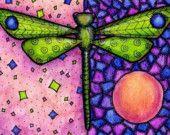Artículos similares a Impresión libélula verde 5 x 7 en Etsy